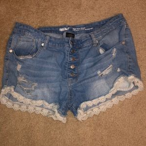 Jean shorts with lace trim- size 18